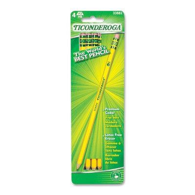 Dixon Ticonderoga Pencils Pencil, No. 2, 4/CD, Yellow