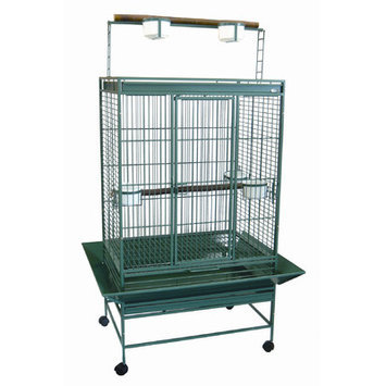 Yml Play Top Wrought Iron Parrot Cage Color: Green