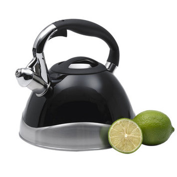 Creative Home Crescendo 12-Cup Tea Kettle with Stainless Steel in Powder Coated Black 77051