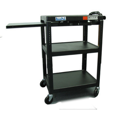 Hamilton Buhl EXTM4226E-5 Height Adjustable AV Media Cart, Three Stationary Shelves, One Pull-Out