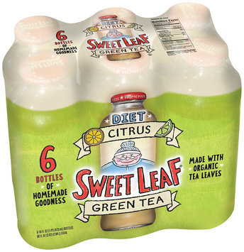 Sweet Leaf Diet Citrus Green Tea 6-16 fl. oz. Glass Bottles