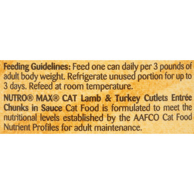 Nutro® MAX® CAT Adult Lamb & Turkey Cutlets Entree Chunks in Sauce Cat Food 3 oz. Can