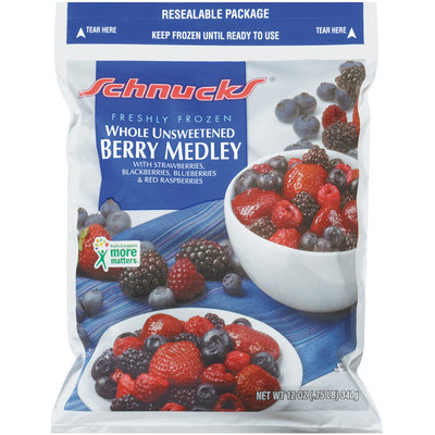 Schnucks Whole Unsweetened Freshly Frozen Berry Medley 12 Oz Bag