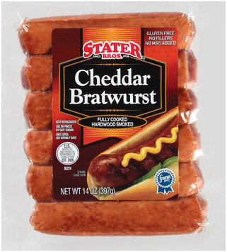 Stater Bros. Cheddar Bratwurst 14 Oz Wrapper