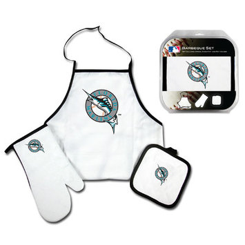 Mcarthur Towel Florida Marlins 3-Piece BBQ Tailgate Set White