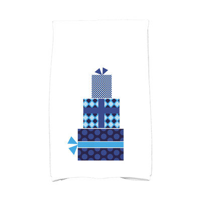 E By Design Holiday Wishes Gift Wrapped Hand Towel Color: Blue