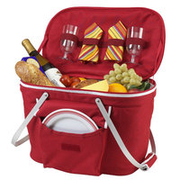 Picnic at Ascot - Collapsible Insulated Picnic Basket for Two - Red