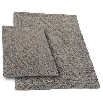 Textile Decor Castle 2 Piece 100% Cotton Shooting Star Reversible Bath Rug Set, 24 H X 17 W and 34 H X 21 W