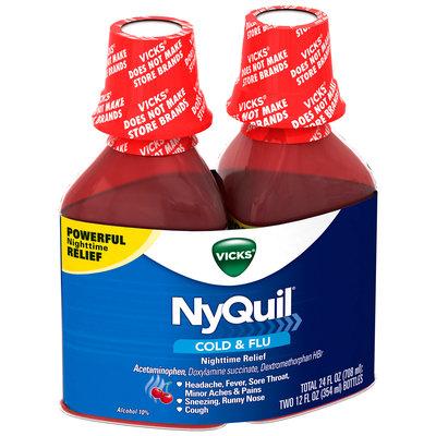 Vicks® NyQuil® Cherry Nighttime Cold & Flu Relief Liquid 2-12 fl. oz. Plastic Bottles