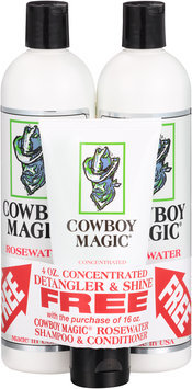 Cowboy Magic® Rosewater Shampoo & Conditioner Set with Bonus Free Concentrated Detangler & Shine