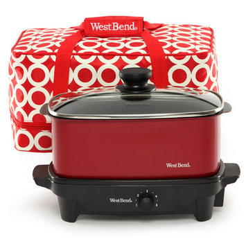 West Bend 84915R Versatility Slow Cooker With Insulated Tote And Transport Lid 5 Quart Red HHK0KWT05-1614