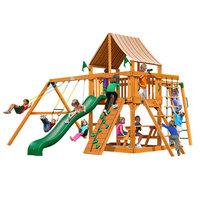 Gorilla Playsets Playground Equipment. Navigator with Amber Posts and Sunbrella Weston Ginger Canopy Cedar Playset