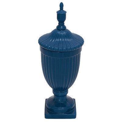 Benzara 57562 Ceramic Urn Blue
