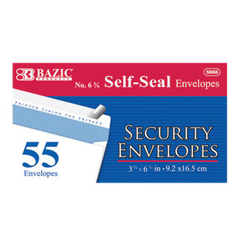 BAZIC #6 3/4 Peel & Seal Security Envelope(Case of 24)