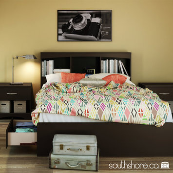 South Shore Step One Full Size Mates Bed with Drawers and Bookcase Headboard Set