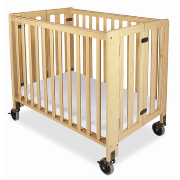 Foundations HideAway Folding, Fixed Side, Full Size Crib Natural