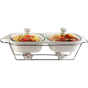 Circle Glass Buffet 2-qt. Double Casserole