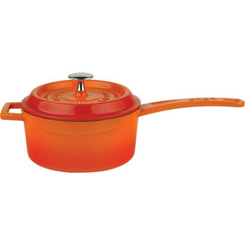 Lava Cookware Signature Enameled Cast-Iron 1 Qt Sauce Pan with lid, Orange Spice