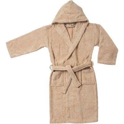 Simple Luxury Egyptian Cotton Kids Hooded Bathrobe, Large, Taupe