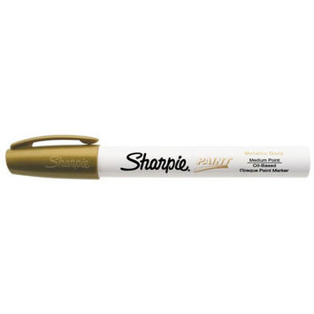 Sanford Brands Sanford Sharpie Paint Marker, Oil Base, Medium Point, Gold