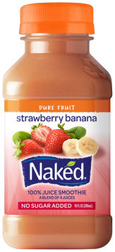 Naked Juice Strawberry Banana Juice Smoothie 10 Oz Plastic Bottle