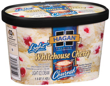 Hagan Light Whitehouse Cherry  Ice Cream 1.5 Qt Carton