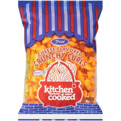 Kitchen Cooked Fried Cheese Flavored Crunchy Curls 4 oz. Bag