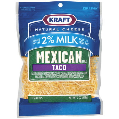 Kraft Natural Cheese Mexican Style Taco Made W/2% Milk Shredded Cheese 7 Oz Peg