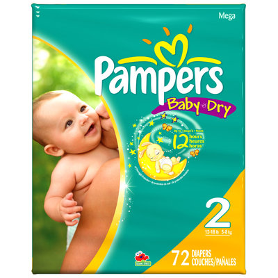 Pampers Baby Dry Size 2 Mega Pack Diapers 72 ct Bag