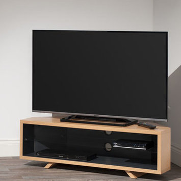 Techlink DL115LOSG Light Oak & Satin Grey Corner TV Stand.