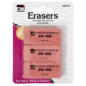 Charles Leonard Inc 80793 Pink Eraser 3 Count