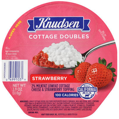 Knudsen Cottage Doubles Cottage Cheese & Strawberry Topping 3.9 oz. Tray