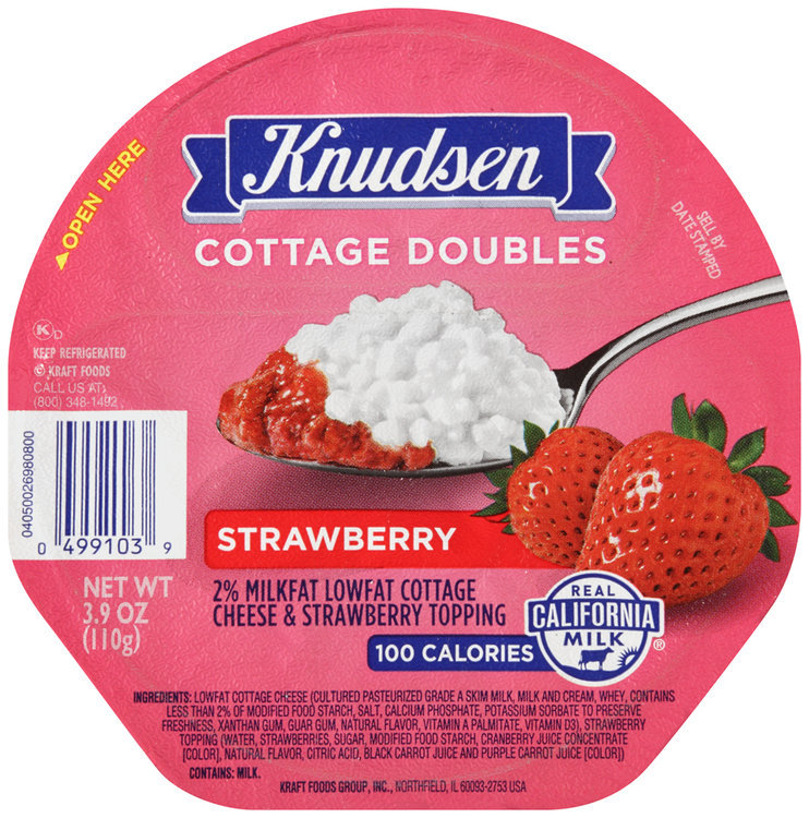 knudsen cottage doubles cottage cheese strawberry topping 3 9 oz rh influenster com