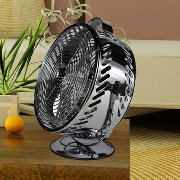 WBM Himalayan Breeze 8.6 in. Decorative Black Chrome Table Fan HBM-7015A13