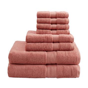 Madison Park Signature 800 GSM Cotton 8 Piece Towel Set Color: Coral
