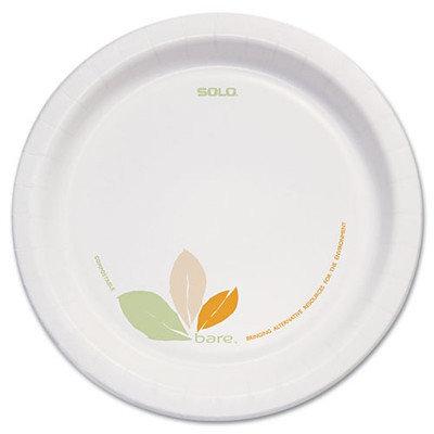 SOLO Cup Company Bare Paper Dinnerware, 8 1/2Plate, Green/Tan, 250/Carton