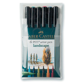 Alvin & Company Alvin FC167105 Artist Brush Pen 6 Lndscp Clrs