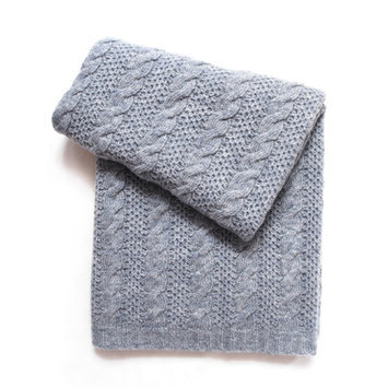Esteffi Cable Knit Wool Blend Baby Blanket (Set of 2) Color: Heathered Gray