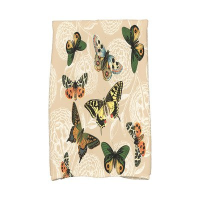 August Grove Sun Valley Antique Butterflies and Flowers Print Hand Towel Color: Beige/Taupe