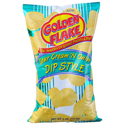 Golden Flake® Sour Cream 'N Onion Dip Style Potato Chips 5 oz. Bag