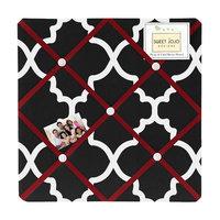Sweet Jojo Designs Red and Black Trellis Fabric Bulletin Board