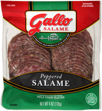 Gallo Salame® Deli Thin Sliced Peppered Salame Coated with Black Pepper 6 oz. Packet
