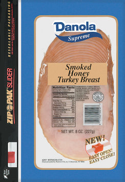 Danola Supreme  Sliced Turkey Smoked Honey 8 Oz Zip Pak