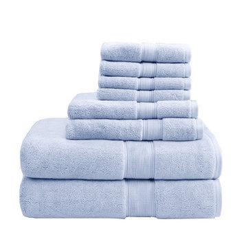 Madison Park Signature 800 GSM Cotton 8 Piece Towel Set Color: Light Blue