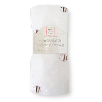 Swaddle Designs Marquisette Swaddling Blanket in Pastel and Mocha Striped Fish Color: Pink