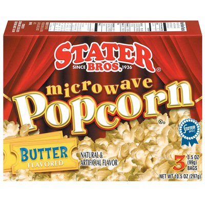 Stater Bros. Butter 3 Ct Microwave Popcorn 10.5 Oz Box