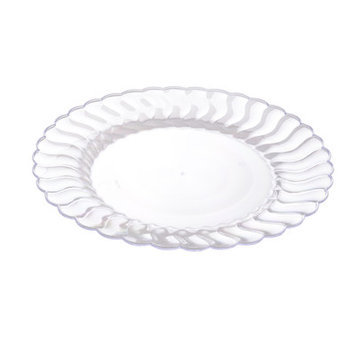 Fineline Settings, Inc Flairware Round Rippled Disposable Plastic Dinner Plate (144/Case), Clear