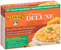 Annie's Homegrown® Creamy Deluxe Shells & Real Aged Cheddar Sauce Macaroni Dinner 312g Box