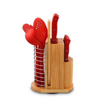 Ragalta 19 Piece Purelife Carousel Knife Set Color: Red