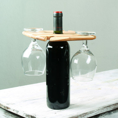 Novica Handcrafted Teakwood 'Cheers' Wine Bottle and Glass Holder (Guatemala)